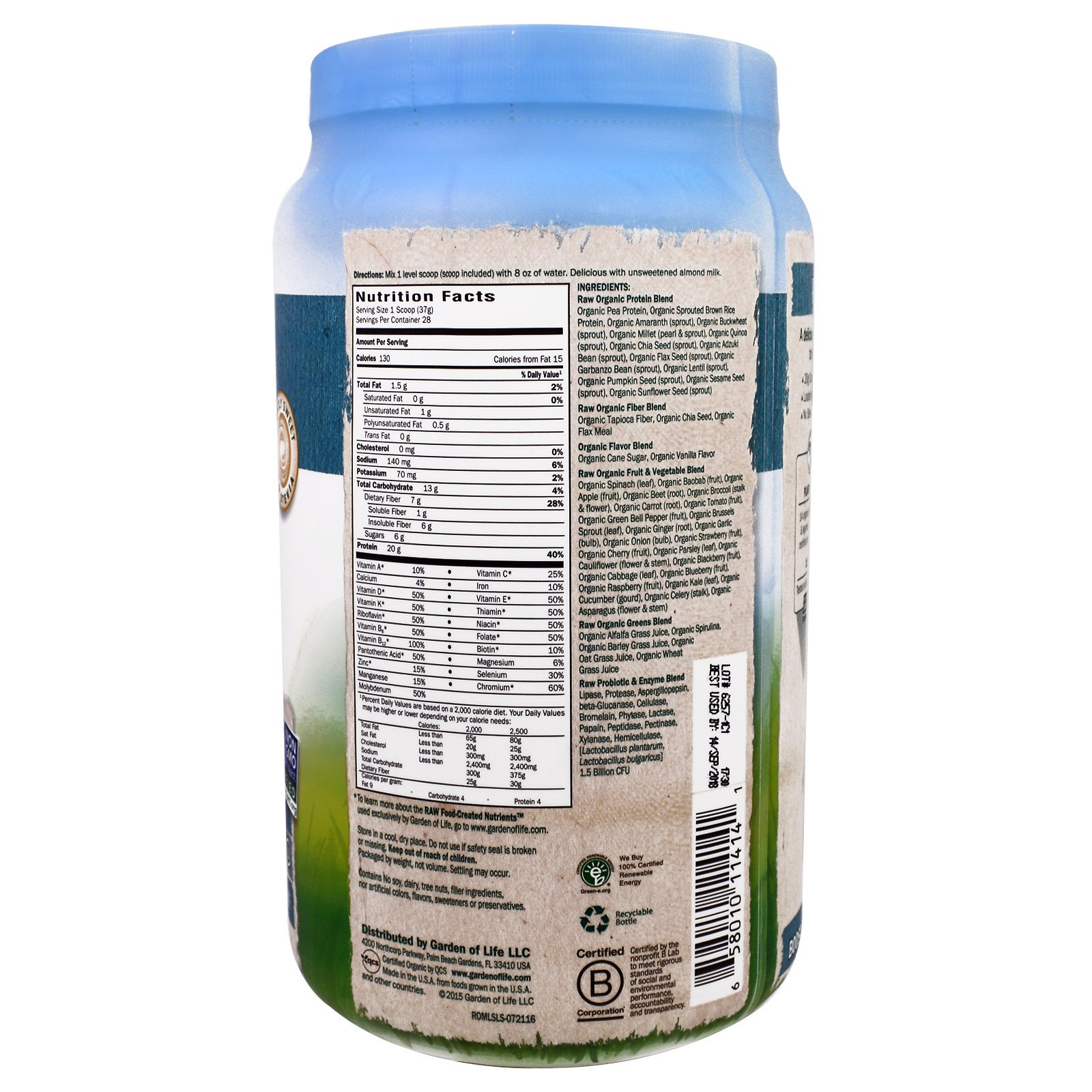 Garden Of Life Raw Organic Meal Organic Shake Meal Replacement Lightly Sweet 36 6 Oz