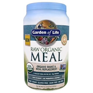 Garden of Life, Raw Organic Meal, Organic Shake & Meal Replacement, Lightly Sweet, 36.6 oz (1,038 g)