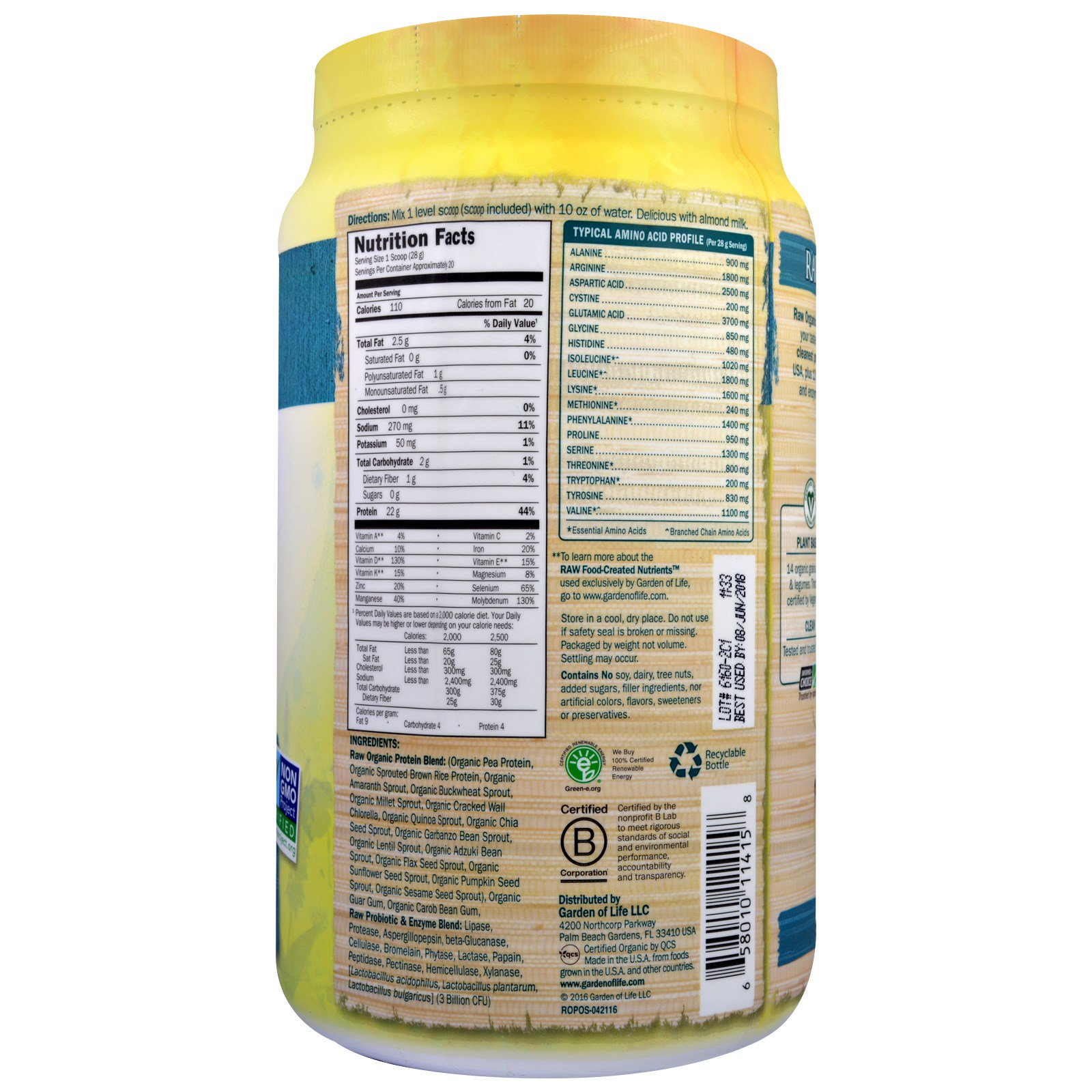 Garden Of Life Raw Organic Protein Organic Plant Formula Unflavored 1 25 Lbs 568 G