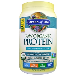 Garden of Life, RAW Organic Protein, Organic Plant Formula, Unflavored, 1.25 lbs (568 g)
