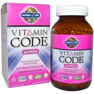 Garden of Life, Vitamin Code, женский, комплекс мультивитаминов из необработанных цельных продуктов, 240 вегетарианских капсул