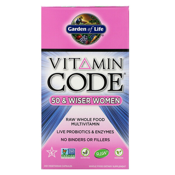 Vitamin Code, 50 & Wiser Women, RAW Whole Food Multivitamin, 240 Vegetarian Capsules