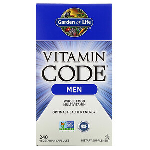 Гарден оф Лайф, Vitamin Code, Whole Food Multivitamin for Men, 240 Vegetarian Capsules отзывы покупателей