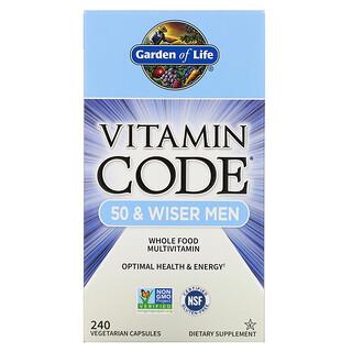 Garden of Life, Vitamin Code, 50 & Wiser Men, Whole Food Multivitamin, 240 Vegetarian Capsules
