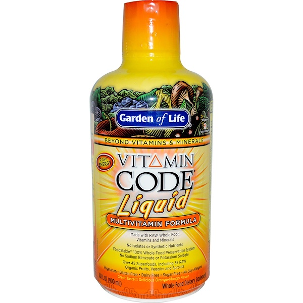 Garden of Life, Vitamin Code Liquid, Multivitamin Formula, Orange-Mango Flavor, 30 fl oz (900 ml) (Discontinued Item)