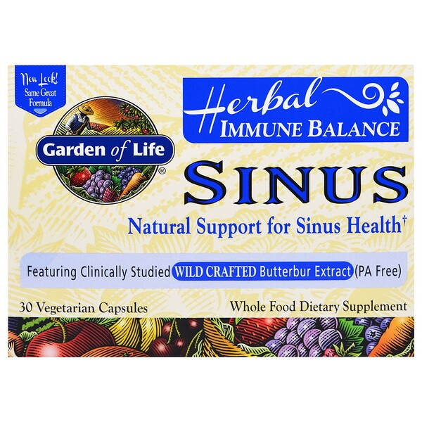 Garden of Life, Herbal Immune Balance, Sinus, 30 Vegetarian Capsules