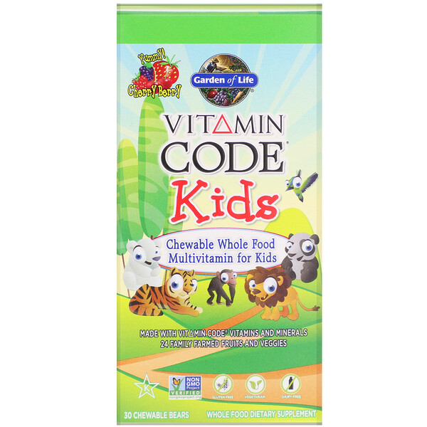 Vitamin Code, Kids, Chewable Whole Food Multivitamin for Kids, Cherry Berry, 30 Chewable Bears