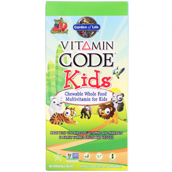 Vitamin Code, enfants, multivitamines à mâcher pour enfants à base d'aliments complets, baies et cerise, 60 oursons à mâcher