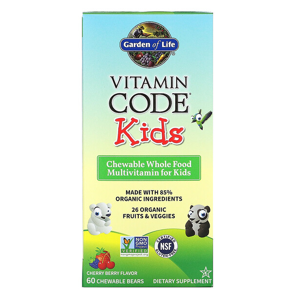Garden of Life, Vitamin Code, Enfants, Multivitamines à croquer pour enfants à base d'aliments entiers, Cerise et fruits rouges, 60 oursons à croquer