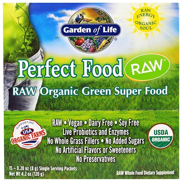 Garden of Life, Perfect Food, Raw Organic Green Super Food, Original, 15 Packets, 0.24 oz (7 g) Each (Discontinued Item)