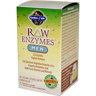 Garden of Life, RAW Enzymes, Men, 90 Veggie Caps