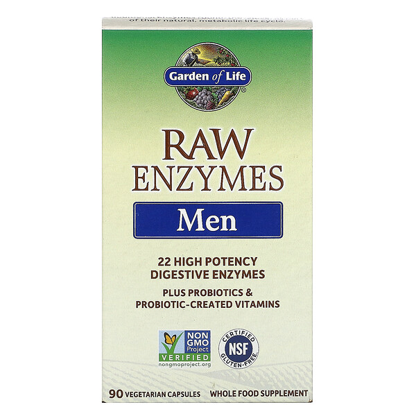 RAW Enzymes, Men, 90 Vegetarian Capsules