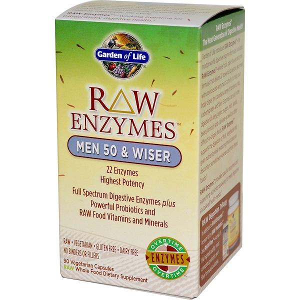 Garden of Life, RAW Enzymes, Men 50 & Wiser, 90 Veggie Caps