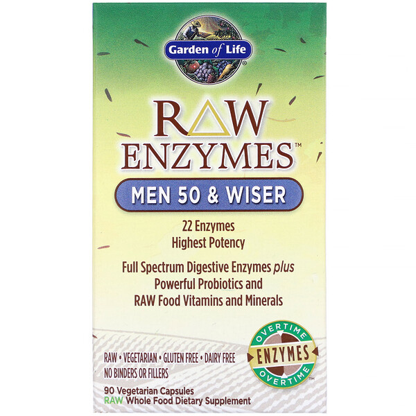 RAW Enzymes, Men 50 & Wiser, 90 Vegetarian Capsules