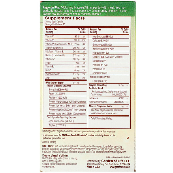 RAW Enzymes, Women, 90 Vegetarian Capsules