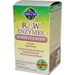 Garden of Life, RAW Enzymes, Women 50 & Wiser, 90 Veggie Caps