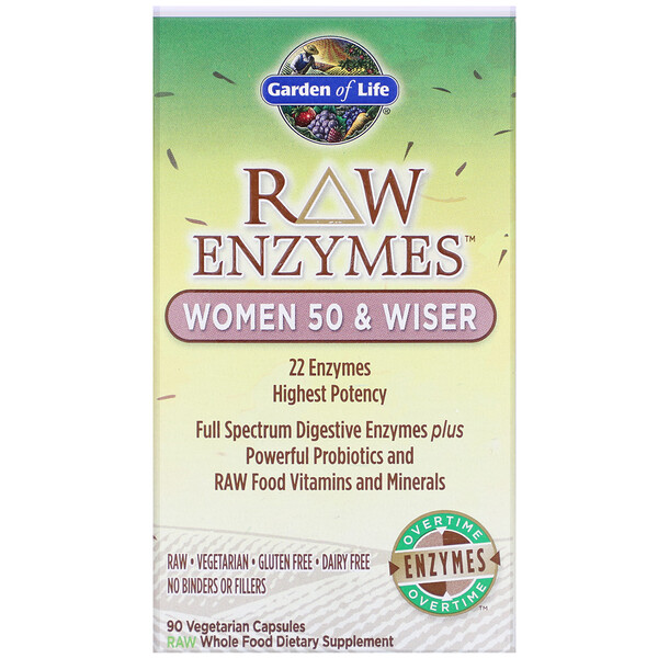 Garden of Life, RAW Enzymes, Women 50 & Wiser, 90 Vegetarian Capsules
