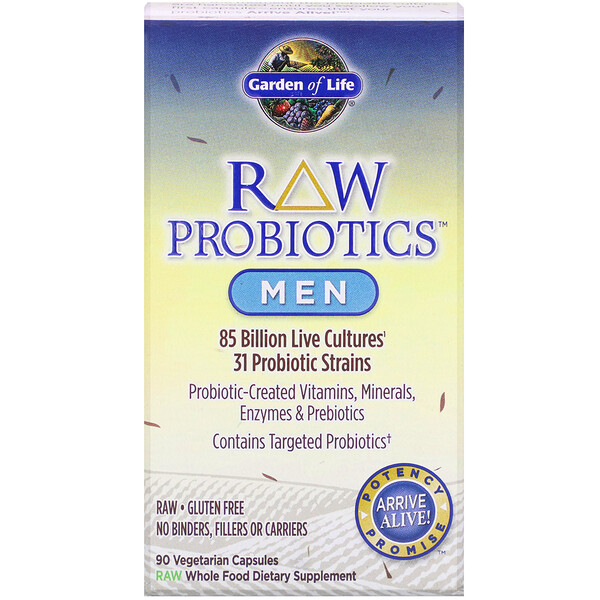 RAW Probiotics, Men, 85 Billion Live Cultures, 90 Vegetarian Capsules