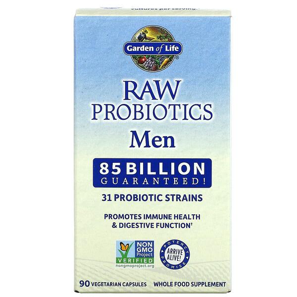 RAW Probiotics, Men, 85 Billion Live Cultures, 90 Vegetarian Capsules