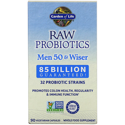 Купить Garden of Life RAW Probiotics, Men 50 & Wiser, 85 Billion Live Cultures, 90 Vegetarian Capsules