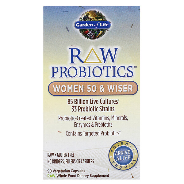 RAW Probiotics, Women 50 & Wiser, 90 Vegetarian Capsules