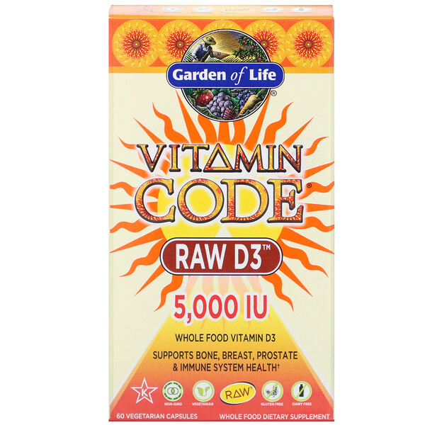 Vitamin Code، RAW D3، 5000 وحدة دولية، 60 كبسولة نباتية