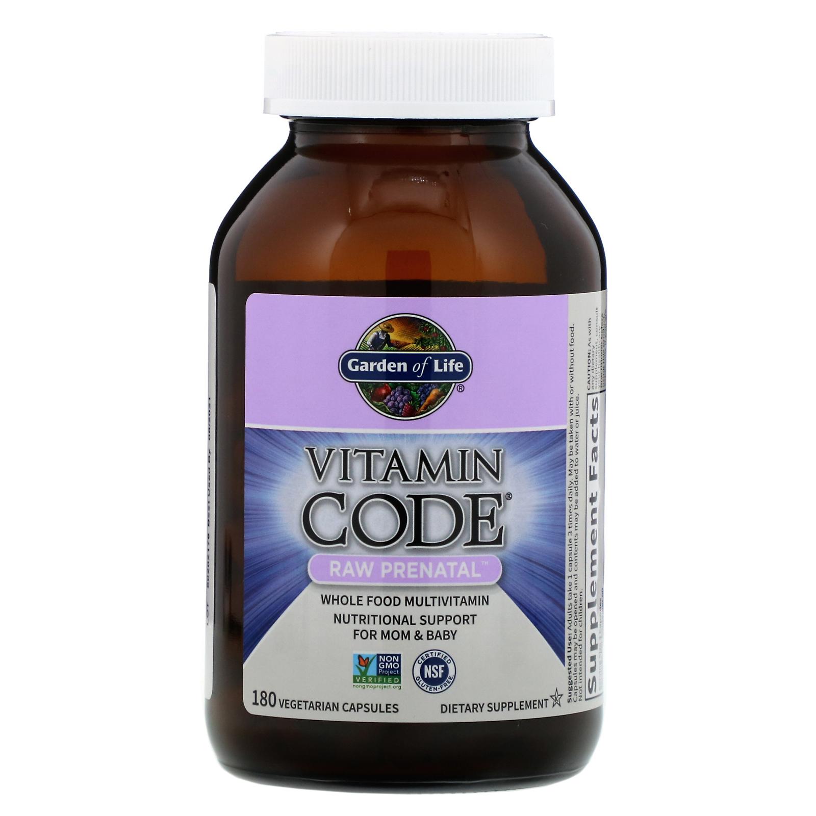 Garden Of Life Vitamin Code Raw Prenatal 180 Vegetarian Capsules Iherb