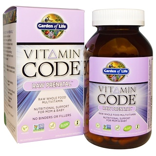 Garden of Life, Vitamin Code, Raw Prenatal, 180 كبسولة نباتية