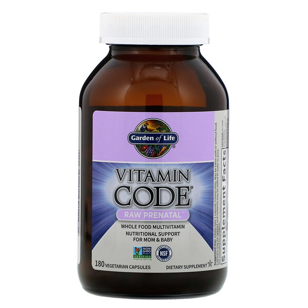 Garden of Life, Vitamin Code, RAW Prenatal, 180 вегетарианских капсул