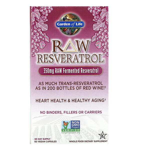 Garden of Life, RAW Resveratrol، 350 ملجم، 60 كبسولة نباتية