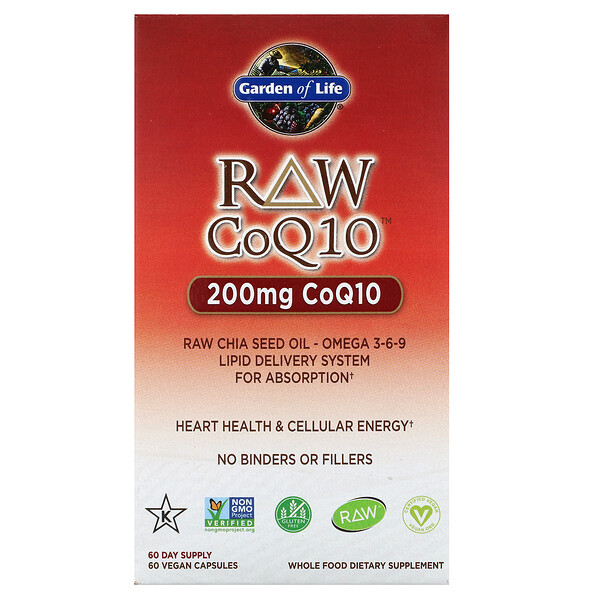 Garden of Life, RAW CoQ10، 200 ملجم، 60 كبسولة نباتىة