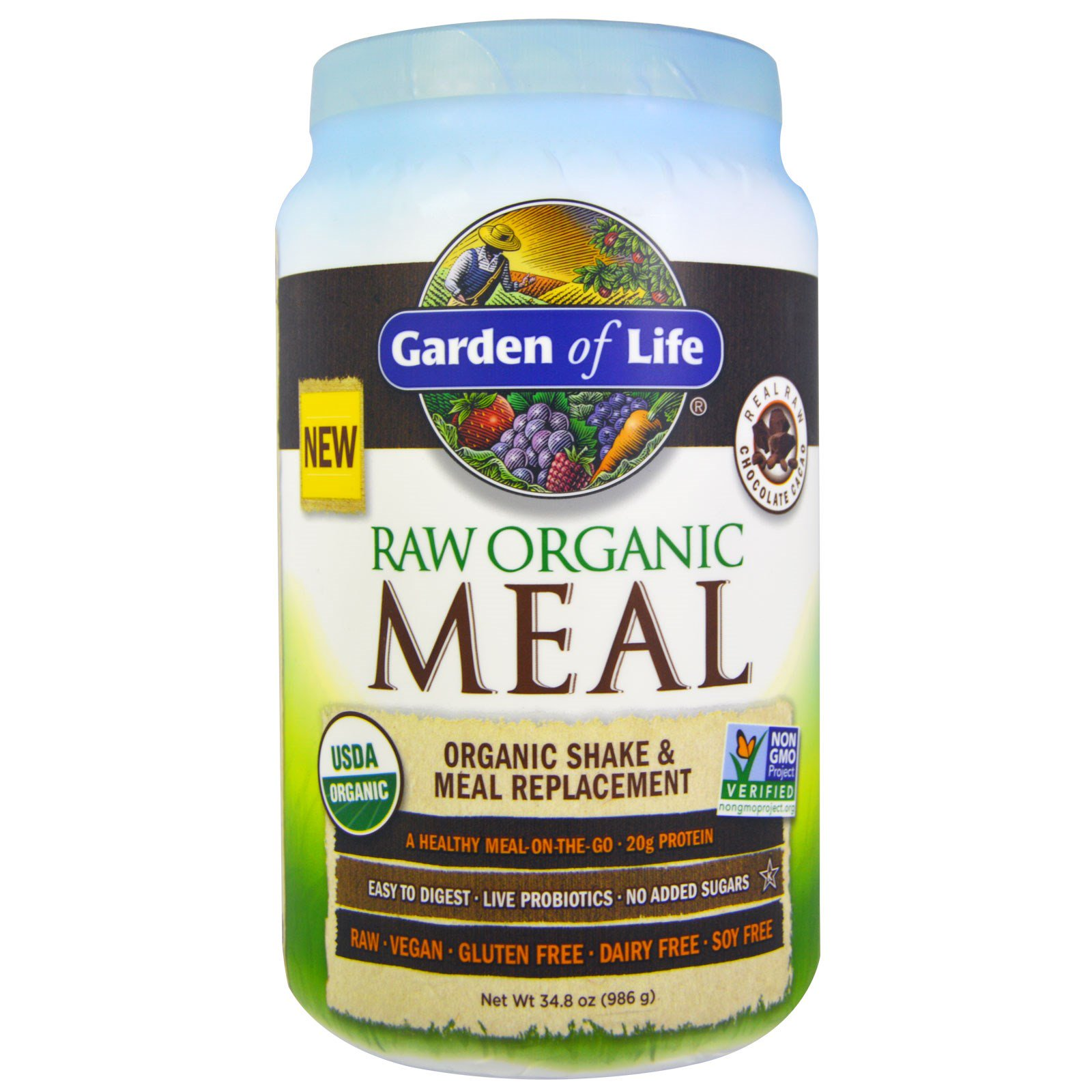 Garden Of Life Raw Organic Meal Shake Meal Replacement Chocolate Cacao 35 9 Oz 1 017g