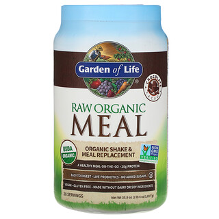 Garden of Life, Alimento orgánico crudo de RAW, Batido y reemplazo de las comidas, Cacao de chocolate, 1017g (2lb 4oz)