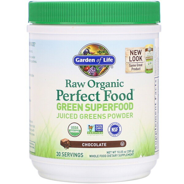 Garden of Life, RAW Organic, Perfect Food, Green Superfood, Chocolate, 10.05 oz (285 g)