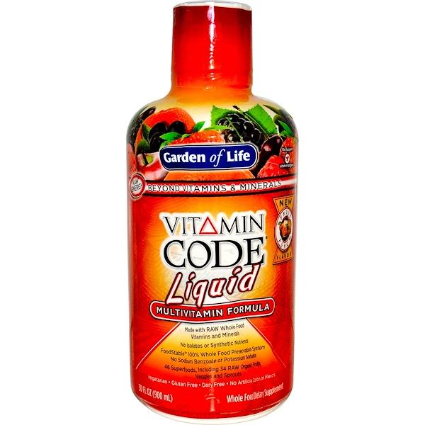 Garden of Life, Vitamin Code, Жидкая мультивитаминная формула, со вкусом фруктового пунша, 30 жидких унции (900 мл)