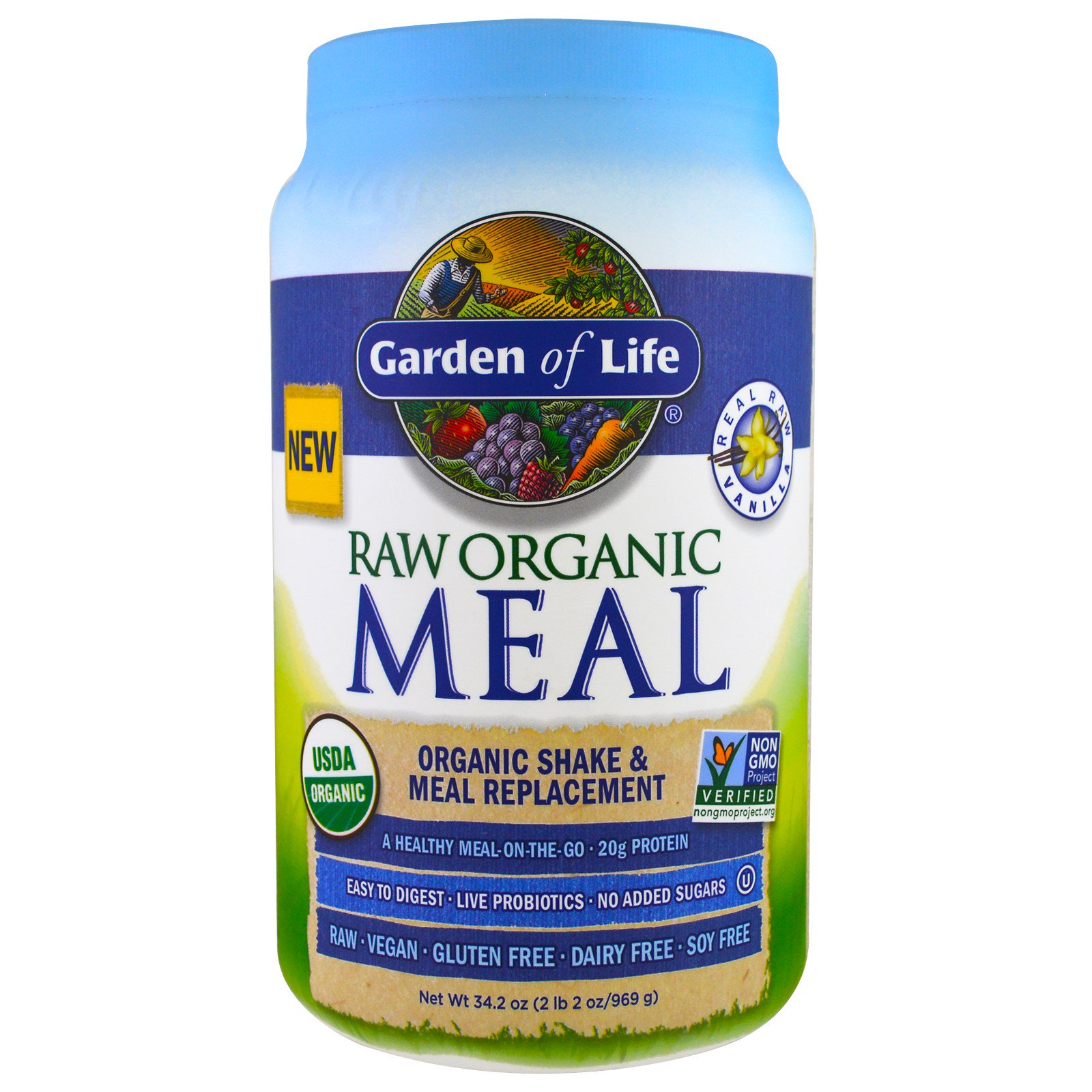 Garden Of Life Raw Organic Meal Shake Meal Replacement Vanilla Lbs 969 G
