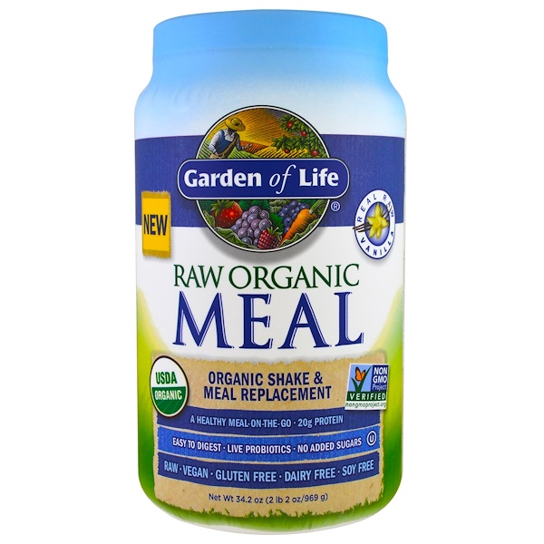 Garden of Life, Raw Meal, Organic Meal Replacement, 바닐라, 33.5 온스(949 g)