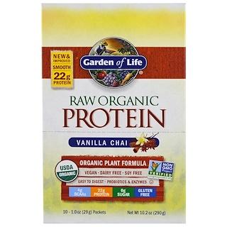 Garden of Life, RAW Organic Protein, Organic Plant Formula, Vanilla Chai, 10 Packets, 1 oz (29 g) Each