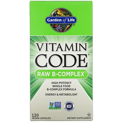 Garden of Life Vitamin Code, Raw B-Complex, 120веганских капсул