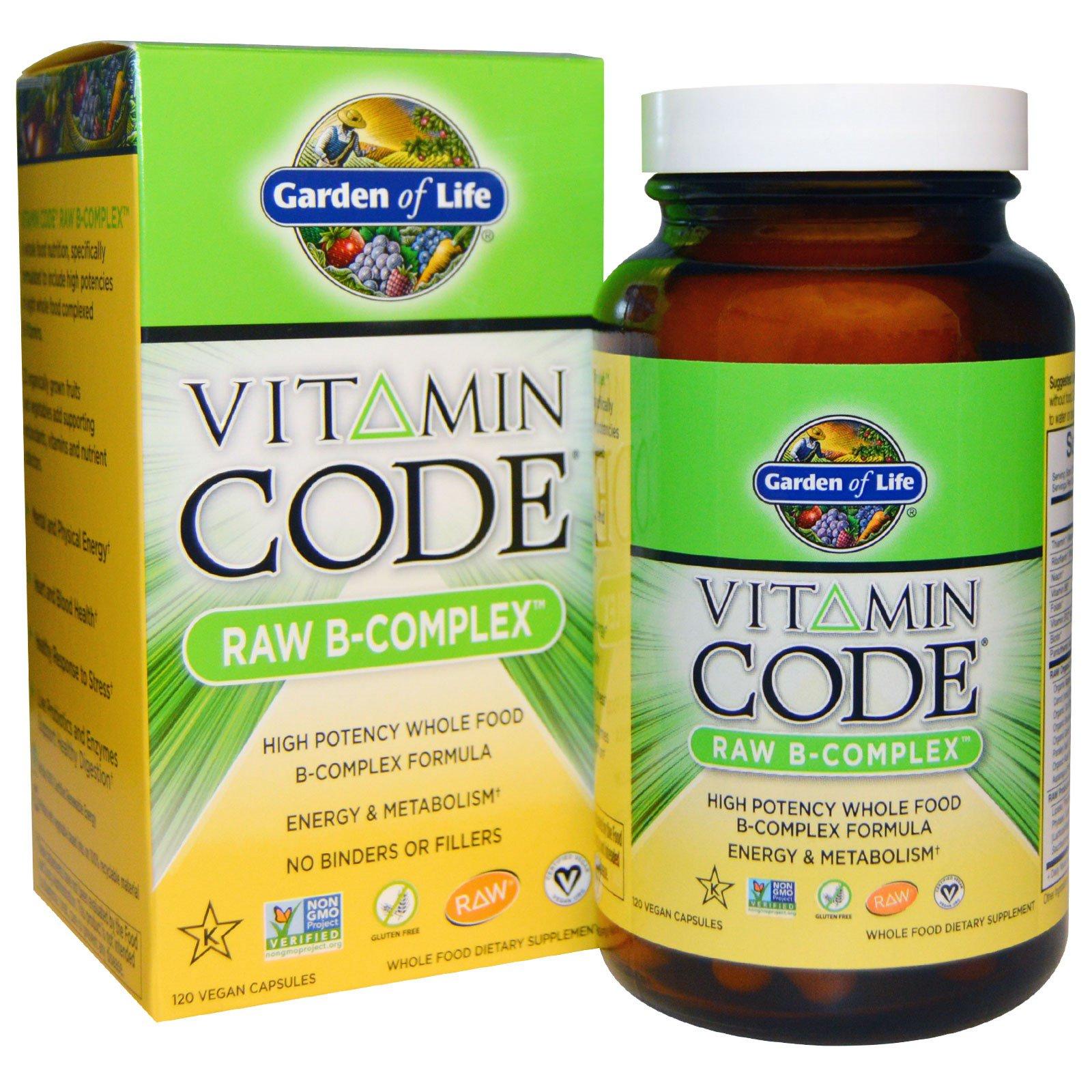 Garden of Life, Витаминный код, сырой B-комплекс, 120 веганских капсул