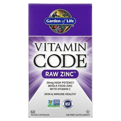 Garden of Life Vitamin Code, цинк RAW, 60 веганских капсул