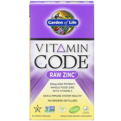 Купить Garden of Life Vitamin Code, цинк RAW, 60 веганских капсул