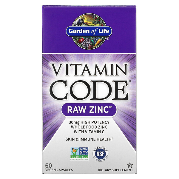 Garden of Life, Vitamin Code, RAW Zinc, 60 Vegan Capsules