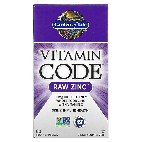 Garden of Life, Vitamin Code, Raw Zinc, 60 כמוסות צמחיות