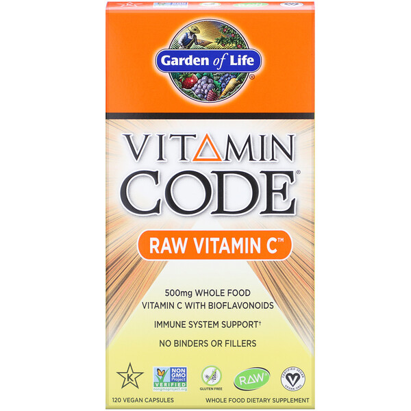 Garden of Life, Vitamin Code، RAW Vitamin C، 500 ملجم، 120 كبسولة نباتية