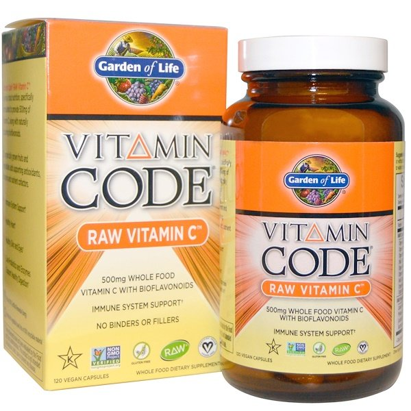 Garden of Life, Vitamin Code, Raw Vitamin C، 120 كبسولة نباتية