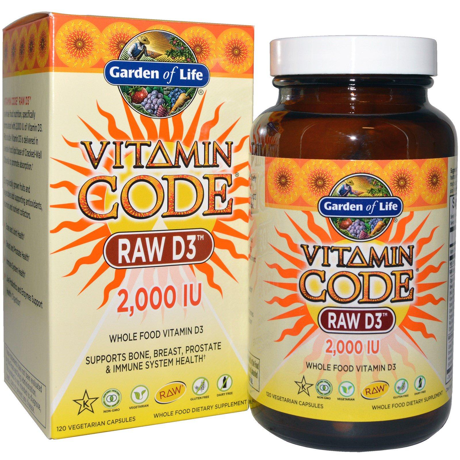 Garden of Life, Vitamin Code, необработанный витамин D3, 2,000 МЕ, 120 капсул UltraZorbe