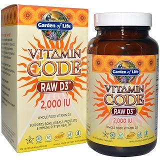 Garden of Life, Vitamin Code, Raw D3, 2,000 IU, 120 Vegetarian Capsules