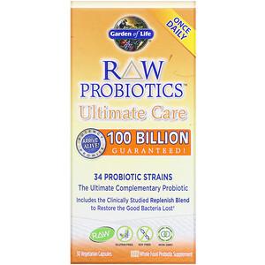 Гарден оф Лайф, RAW Probiotics, Ultimate Care, 30 Vegetarian Capsules отзывы покупателей