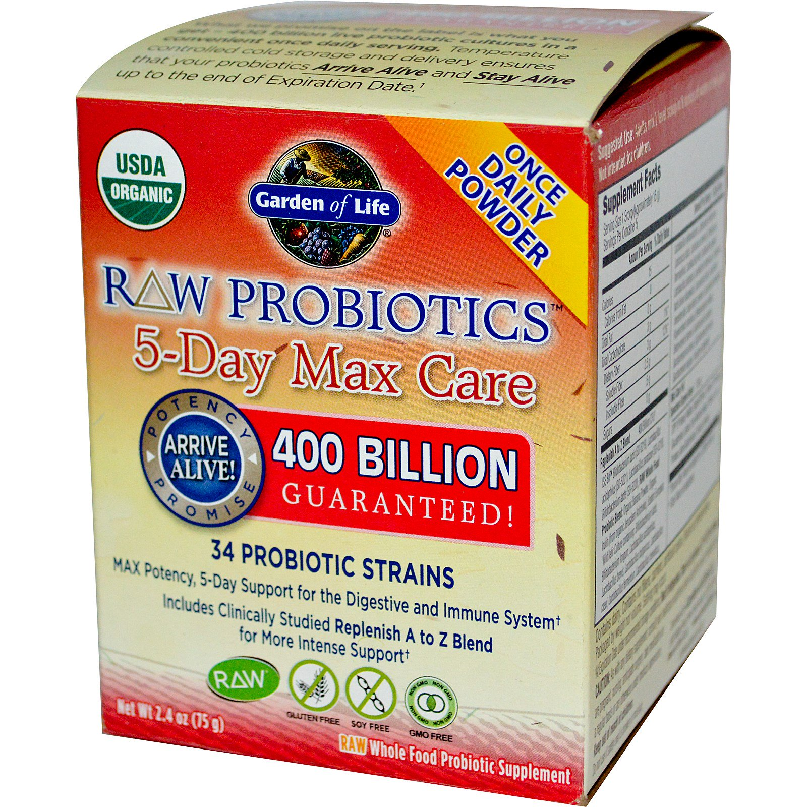 Garden Of Life Raw Probiotics 5 Day Max Care 2 4 Oz 75 G Iherb